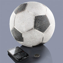 White Black Diamond Soccer Ball Life-Size 1400ct 14K