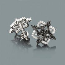 White Black Diamond Star Earrings 0.55ct 14K Gold