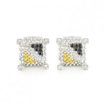 White Black Yellow Diamond Earrings 0.61ct Sterling Silver Studs