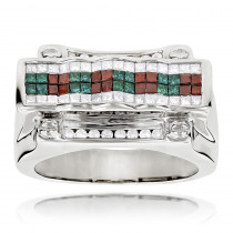 White Blue Red Diamond Ring 14K 2ct Mens