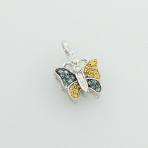 White Blue Yellow Diamond Butterfly Pendant for Women 0.26ct 14K Gold