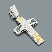 White Blue Yellow Diamond Cross Pendant 0.80ct Sterling Silver