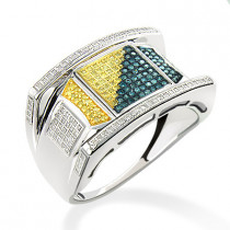 White Blue Yellow Diamond Ring for Men 0.60ct Sterling Silver