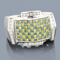White Blue Yellow Mens Diamond Ring 2.50ct 14K Gold