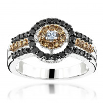 White Brown Black Diamond Ring 0.94ct 14K Gold Womens Jewelry