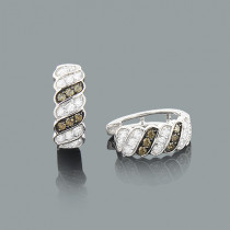 White and Champaign Diamond Hoop Huggie Earrings 0.47ct 14K Gold