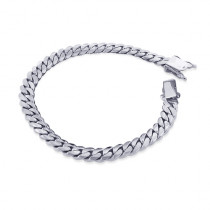 White Gold Miami Cuban Link Curb Chain Bracelet 14K 9.5mm 7.5-9in
