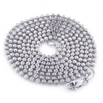 White Gold Moon Cut Bead Chain 10K 2mm; 22-40in