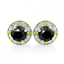 White Yellow and Black Diamond Stud Earrings 2.20ct 14K Gold