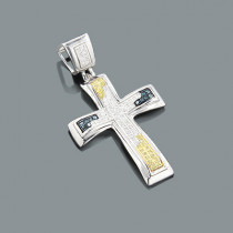 White Yellow Blue Diamond Cross Pendant 0.20ct Sterling Silver