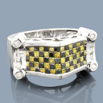White Yellow Diamond Black Gold Ring 14K 2.75ct