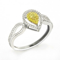 White Yellow Diamond Engagement Ring 0.31ct 14K Gold