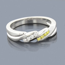 Thin White Yellow Diamond Wedding Band 0.12ct 14K