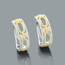 White Yellow Gold Hoop Earrings with Diamonds .91ct 14K