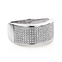 Wide Diamond Wedding Band in Sterling Silver 0.32ct Ladies Mens