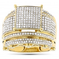 Wide Engagement Ring with Diamonds 10K Gold 1.29ct