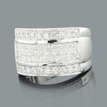 Wide Wedding Bands: Round Princess Cut Diamond Ring 2.75ct 14K Gold