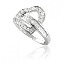 Womens 14K Baguette Diamond Heart Designer Ring 0.67ct