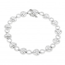 Womens 14K Gold Designer Diamond Heart Bracelet 4.35ct