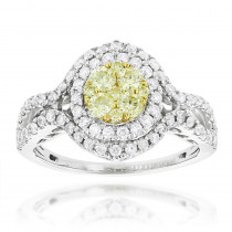 Women's Cluster Rings: 14K Gold White Yellow Diamond Engagement Ring 1.15ct