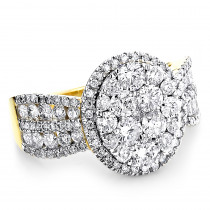 Womens Diamond Cluster Rings 2.6ct 14k Gold Diamond Engagement Ring