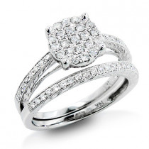 Womens Diamond Engagement Ring Set 14K Gold 0.68ct