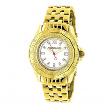 Womens Diamond Watch 0.25ct Yellow Gold Plated Luxurman