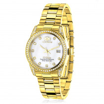 Women's Diamond Watch Yellow Gold Plated Luxurman Tribeca 1.5ct