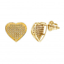 Yellow Diamond Heart Earrings 0.22ct 10K Gold