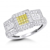 Yellow Diamond Rings: 14K Gold Diamond Ring 0.9 ctw