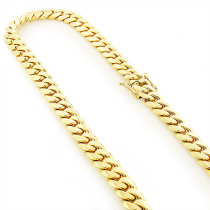 Mens Solid Yellow Gold Miami Cuban Link Colossal Chain 14K 14.5mm 22-40in