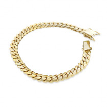 Yellow Gold Miami Cuban Link Curb Chain Bracelet 14K 3mm 7.5-9in