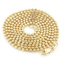 Mens Yellow Gold Moon Cut Bead Chain 10K 2mm; 22-40in