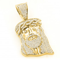 Yellow Gold Plated Diamond Jesus Head Pendant in Sterling Silver 1ct