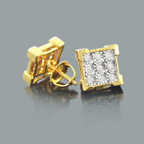 Yellow Gold Plated Silver Diamond Stud Earrings For Men & Women 0.35ct