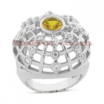 Yellow Sapphire and Diamond Ring 14K 0.46ctd 0.60cts
