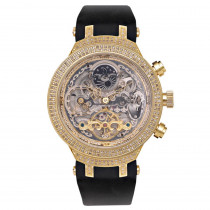 Yellow Skeleton Watch by Joe Rodeo Master 2.2ct Diamond Watches for Men