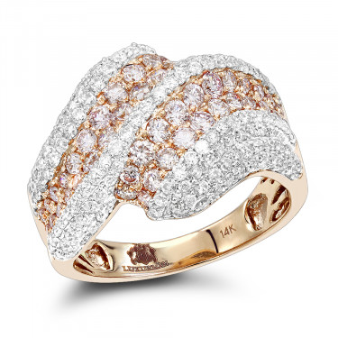14K Gold Natural White Pink Diamond Cocktail Ring for Women 2ct by Luxurman