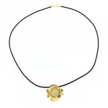 14K Yellow Gold Fish Rubber Necklace