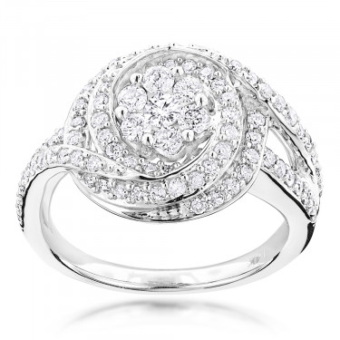 Unique Engagement Rings: Round Diamond Ring 1.15ct 14K Gold