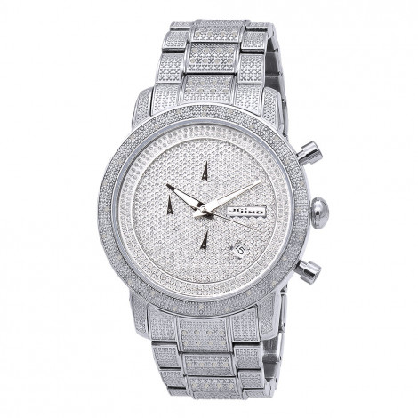 JoJino Iced Out Diamond Watch for Men Real Diamonds Metal Band Date 1.05ct Main Image