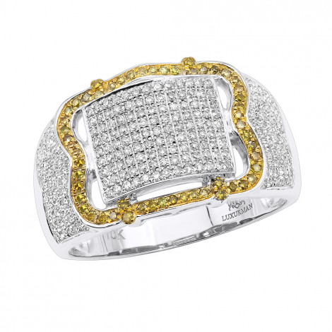1 Carat Mens Pinky Rings Collection White Yellow Diamond Ring in 10k Gold White Image
