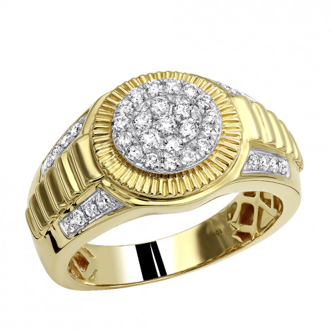10k Gold Mens Cluster Diamond Jubilee Ring 0.75ct Rolex Style Yellow Image