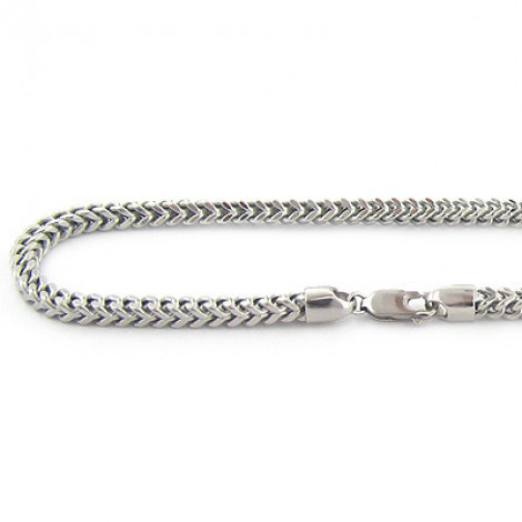 Mens 10K Solid White Gold Franco Chain Necklace 26-40in,4mm Main Image
