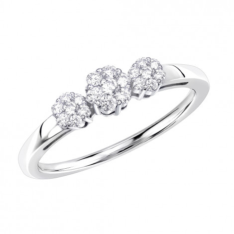 Thin 14K Gold Diamond Cluster for Women Ring Past Present Future 0.25ct White Image