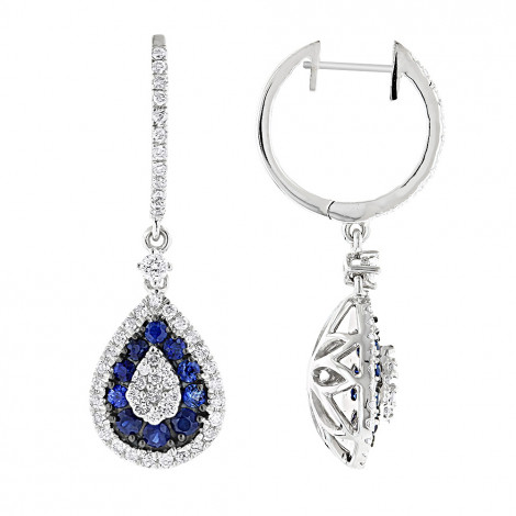 14K Gold Blue Sapphire and White Diamond Drop Earrings for Women 2 Carats White Image