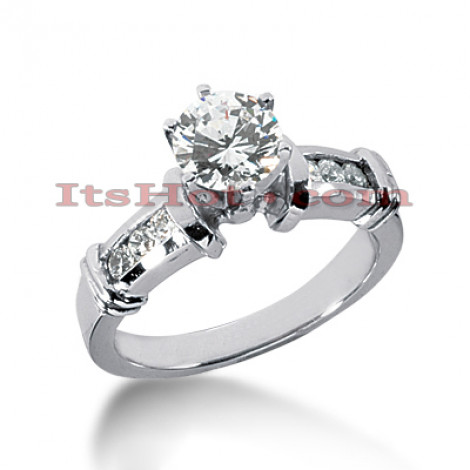 14K Gold Designer Prong and Channel Set Diamond Engagement Ring 0.68ct Main Image
