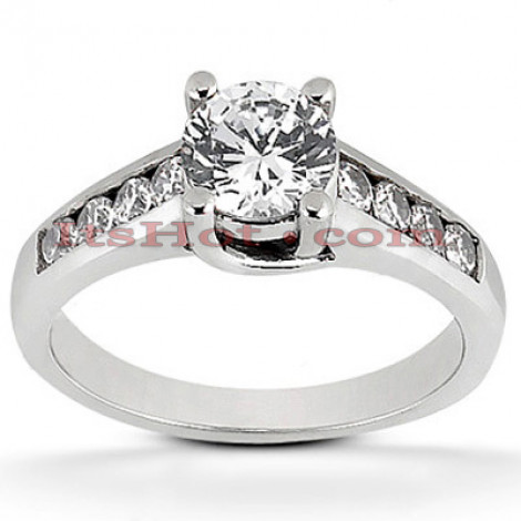 14K Gold Prong and Channel Set Diamond Engagement Ring 0.80ct Main Image