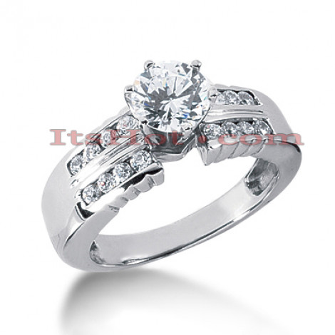 14K Gold Designer Prong and Channel set Round Diamond Engagement Ring 0.82ct Main Image