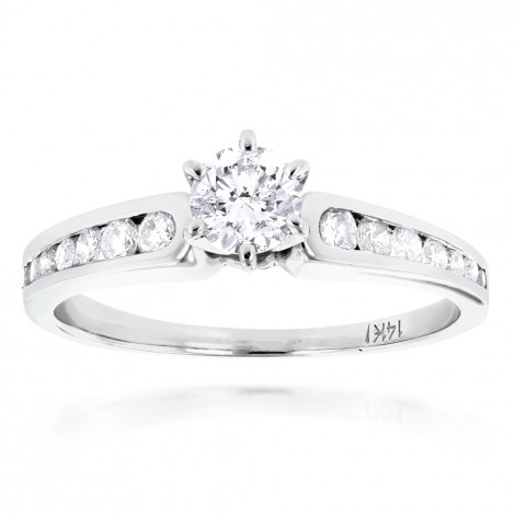 14K Gold Prong and Channel Set Diamond Engagement Ring 0.84ct White Image